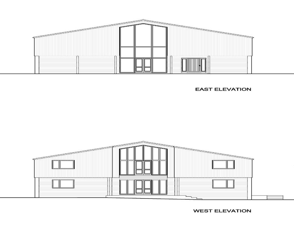East & west elevation plan for barn