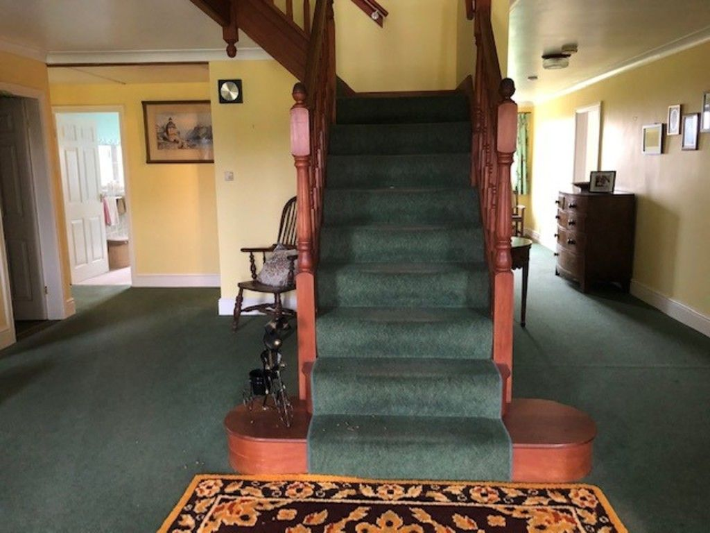 Staircase with green carpet