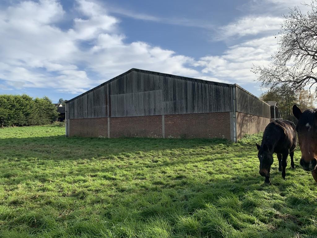 Brick farm barn with Horses